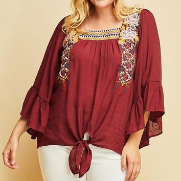 MADISON Square Neck Embroidered Top in Burgundy