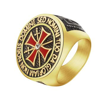 Knight Templar Crusader Titanium Stainless Steel Medieval Masonic Male Signet Ring