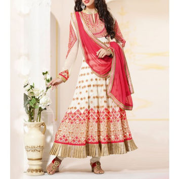 Off White Georgette Anarkali Suit with Zari Work