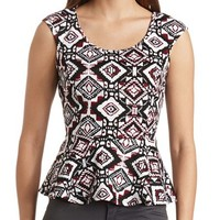 BOW BACK PRINTED PEPLUM TOP