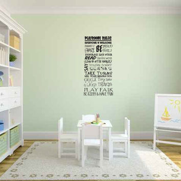 Playroom Rules Vinyl Wall Words Decal Sticker Graphic