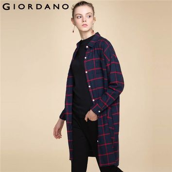 Giordano Women Dress Flannel Solid Loose Dress Turn-down Collar Long Sleeves Women Clothing Button Front Pockets Garment Lady