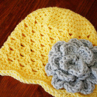 Yellow baby girl hat, crochet baby cap, Yellow toddler hat with gray flower, 12 Months to 4T size, Photo Prop