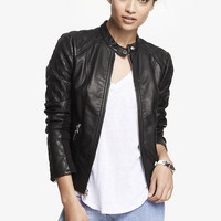 Quilted Sleeve (minus The) Leather Jacket from EXPRESS