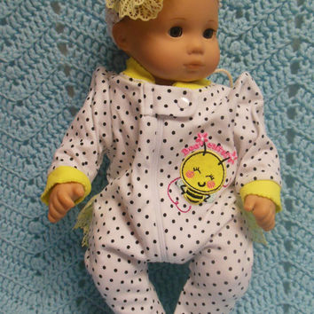 "American Girl BITTY BABY clothes ""Bee Cute"" (15 inch) doll outfit with sleeper and headband hair clip Bee bumble bee"