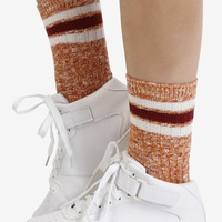 Second Base Striped Crew Socks - Brick