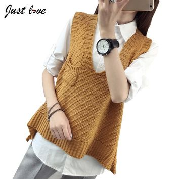 2017 Women Knitted Vest Female Autumn winter Sweater V-neck Sleeveless Vest Korean Loose Sweater pocket Waistcoat All Match