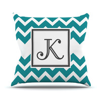 "KESS Original ""Monogram Chevron Teal"" Outdoor Throw Pillow"