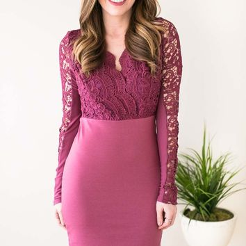 Sips of Sangria Lace Detail Bodycon Dress