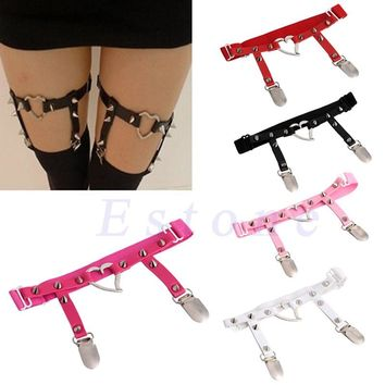 Sexy Studded Heart Garters Rivet Punk Goth Harajuku Style Handmade Garter Belt Leg Ring for Women Gift One Adjust able Free Size