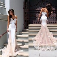 2015 Lace Long Formal Evening Dress Mermaid Celebrity Pageant Party Prom Gown
