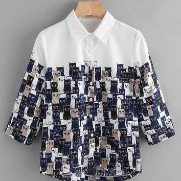 White Cartoon Cat Print 3/4 Sleeve Front Button Dip Hem Shirt