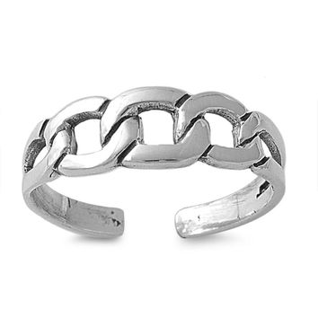 Sterling Silver Chain Link Design 5MM  Toe Ring/ Knuckle/ Mid-Finger