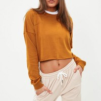 Missguided - Brown Raw Hem Crop Sweatshirt