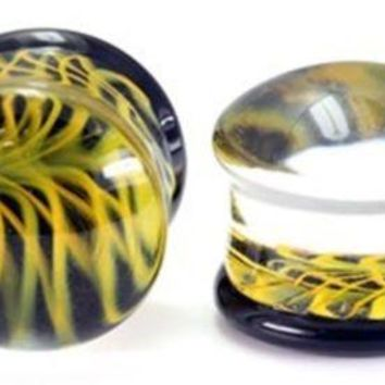 """PAIR-Pyrex Glass Black/Yellow Double Flare Plugs 12mm/1/2"""" Gauge Body Jewelry"""
