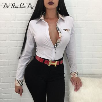 DeRuiLaDy Fashion 2018 Spring Autumn Women Striped Blouse Shirt Sexy Long Sleeve Black White Blouses Casual Womens Tops blusas