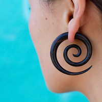 Double Spirals Wood Fake Guages L/Black by TribalStyle on Etsy