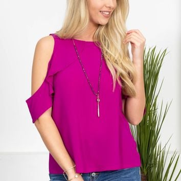 Flutter Sleeve Lee Top | Magenta