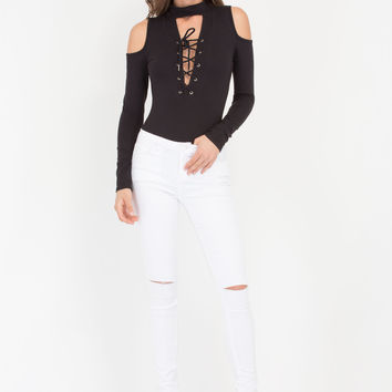 Tied And Collared Cold Shoulder Bodysuit