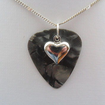 Fender Gray guitar pick necklace with heart charm
