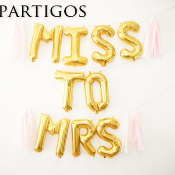 9pcs 16inch Miss to Mrs Letter foil Balloons Bridal Shower Banner Decor Bachelorette Party Bride groom wedding party decoration