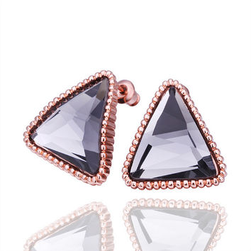 Triangle Black Quartz Earring