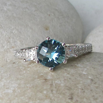 Sale Gorgeous Swiss Blue Topaz Ring- Engagement Ring- Promise Ring- Her and His Promise Rings- December Birthstone Ring- Anniversary Rings-