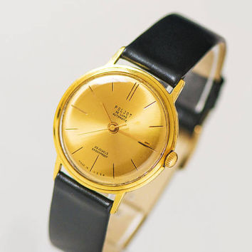 Vintage men's watch automatic Poljot de Luxe, luxury men watch gold plated AU 20, shockproof watch, water protected watch, new genuine strap