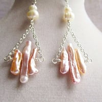 Pale Pink Freshwater Pearl Sticks & Ivory Freshwater Pearl Dangle Earrings