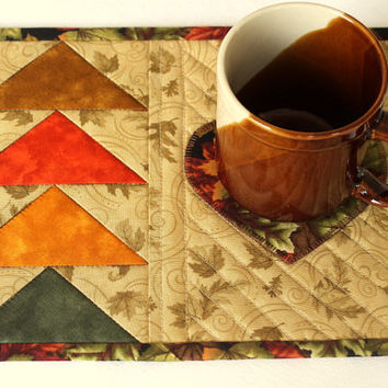 Fall Mug Rug - Quilted Mug Rug - Autumn Snack Mat - Autumn Leaves - Applique Heart - Flying Geese - Thanksgiving