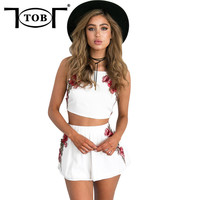 TOB Floral Embroidery Elegant Jumpsuit Romper Summer Style Backless Sexy Beach Cute Evening Party Playsuit Two piece Overalls