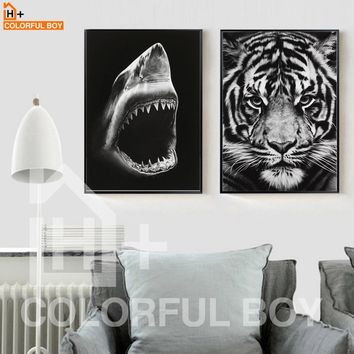 COLORFULBOY Tiger Shark Canvas Painting Modern Wall Art  Black White Posters And Prints Wall Pictures For Living Room Home Decor