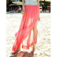 Red Long Skirt with Splits