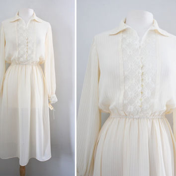 Vintage 70s Cream Off White Lace Sheer Pinstripe Dress - Boho Chic Flirty Shirt Dress - Size Small to Medium