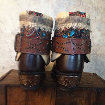 DURANGO upcycled western cowboy boots women's size  9 1/2 -10