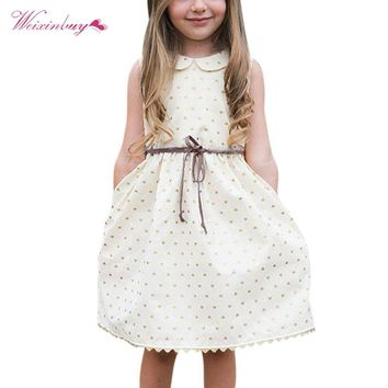 WEIXINBUY Summer Toddler Kids Baby Girls Cute Dot White Dress Sleeveless Princess Party Dresses 3-7Y