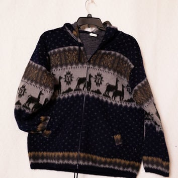 Artesanias Tuntaquimba Large Wool Hoodie Sweater, Ecuadorian Hooded Wool Jacket with Jacquard Llama Pattern, Hipster Ecuadorian Jacket