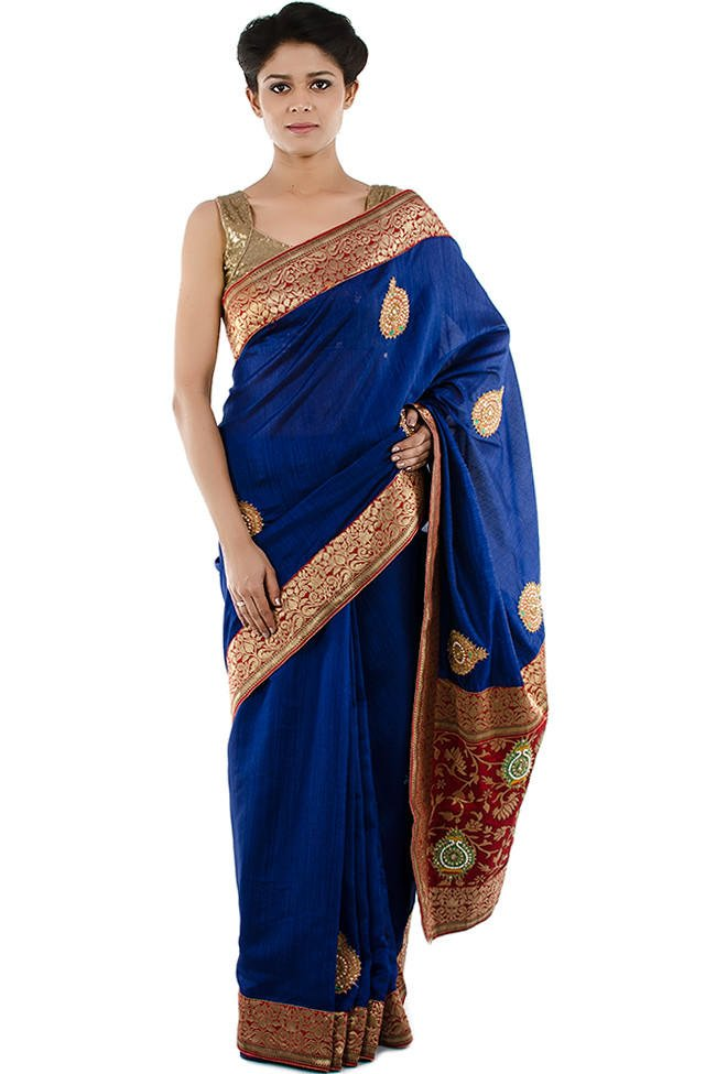 Royal blue Saree with Golden & Red Border from bazzzar.com
