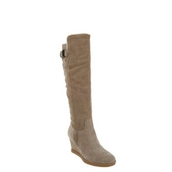 Isaac Mizrahi Live! Women's Stone Suede Wedge Tall Boots With Faux Fur