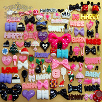 50 PCS Mix Assorted Cabochon Cute Mixed Sweets flatback ResinRose Polymer Clay Heart Cabochon Bow Cabochon Resin Decoden Kits miniature AK