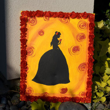 "FREE SHIPPING   ""Belle"" Acrylic Silhouette Painting of Belle Holding the Rose"
