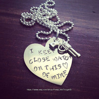 Hand Stamped Aluminum Necklace with I Keep A Close Watch On This Heart of Mine