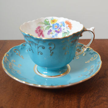 Aynsley Blue England Teacup and Saucer - Hand numbered  9YCJ