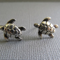 Silver Baby Turtle Earrings by IrisJane on Etsy