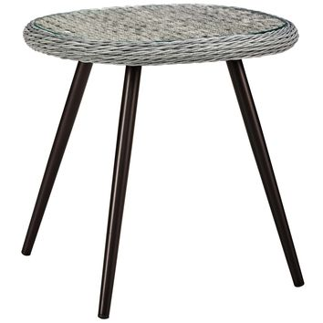 Endeavor Outdoor Patio Wicker Rattan Side Table Gray EEI-3025-GRY