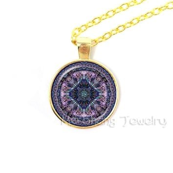 Glass Dome Mandala Jewelry Indian OM Symbol Necklace Meditation Chakra Pendant Necklace Buddhism Spiritual Jewellery Bijoux
