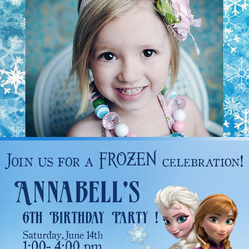 Frozen - Birthday Party Invitation with Photo - 2 different colors - High Quality 300 DPI- Customized -Party Printables