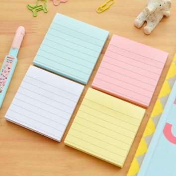 Macaron sticky note Simple stripe paper memo pad Removable post it guestbook Bookmark School stickers Office accessories 6580