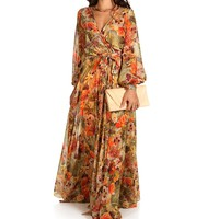 Sale-orange Floral Wrap Maxi Dress