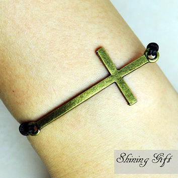 Antique Brass Cross Bracelet, Black Leather Bracelet
